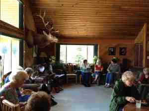 Inside the lodge having lunch